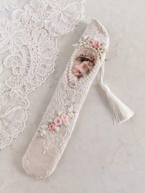 他の写真3: ヴィクトリアンなリボン刺繍の扇子ケース完成品  (akiko)