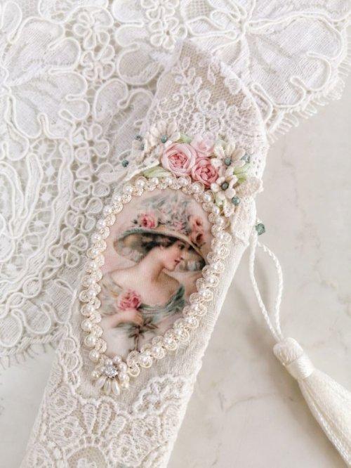 他の写真1: ヴィクトリアンなリボン刺繍の扇子ケース完成品  (akiko)