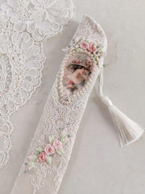 他の写真2: ヴィクトリアンなリボン刺繍の扇子ケース完成品  (akiko)